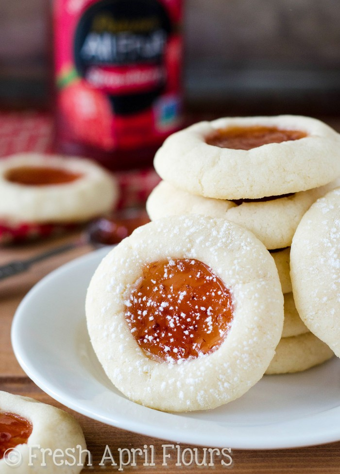 Thumbprint Cookies: Buttery shortbread cookies filled with a fruity puddle of jam or jelly.