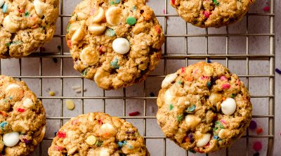 aerial photo of funfetti oatmeal cookies on a cooling rack