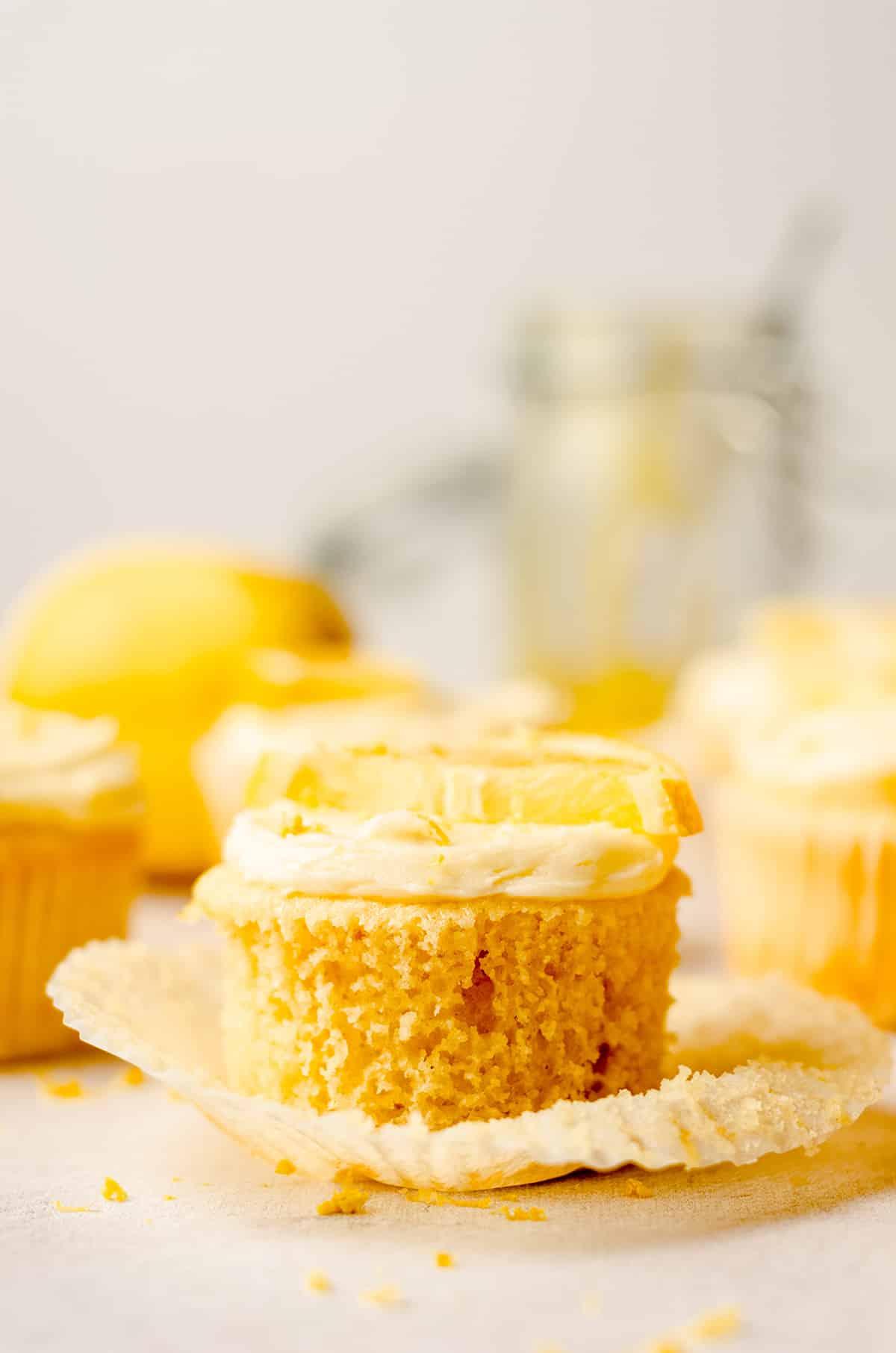 triple lemon cupcake with the wrapper taken off