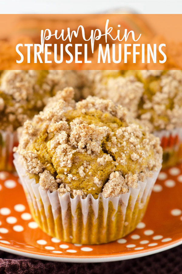 Moist and tender muffins made with real pumpkin and all the warm flavors of fall, topped with an irresistible pumpkin spice streusel.