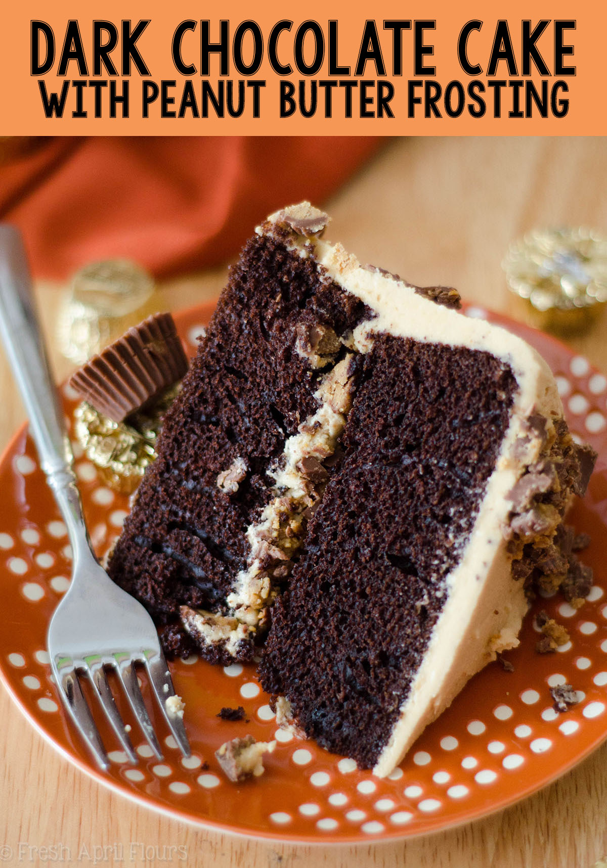 An easy two-layer dark chocolate cake covered in creamy, dreamy peanut butter frosting, all from scratch!