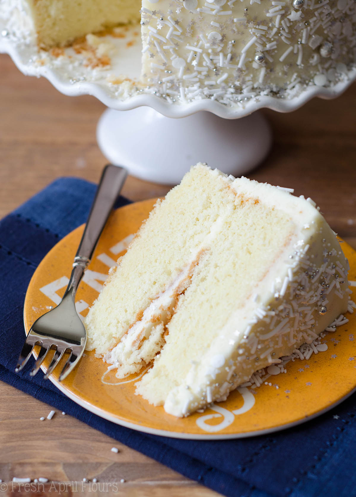 White Layer Cake With Whipped Cream Buttercream