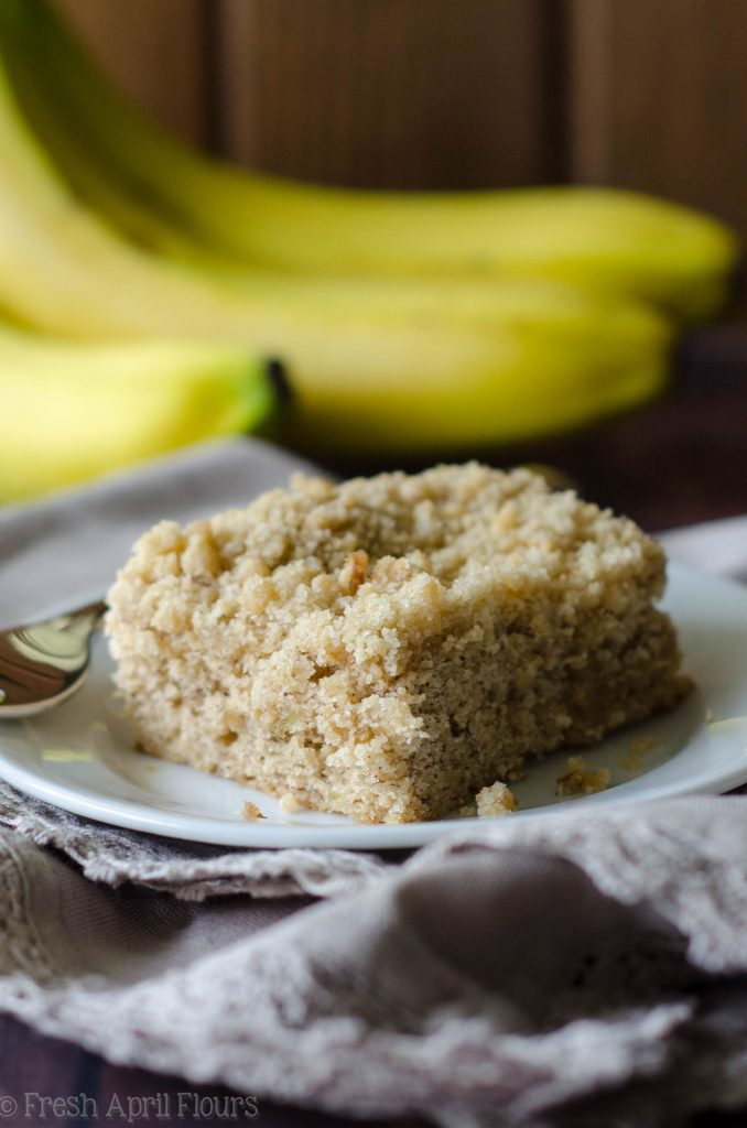 Banana Crumb Snack Cake: A simple and perfectly moist banana cake with a fine sandy crumb topping.