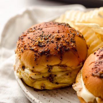baked turkey sliders on a plate