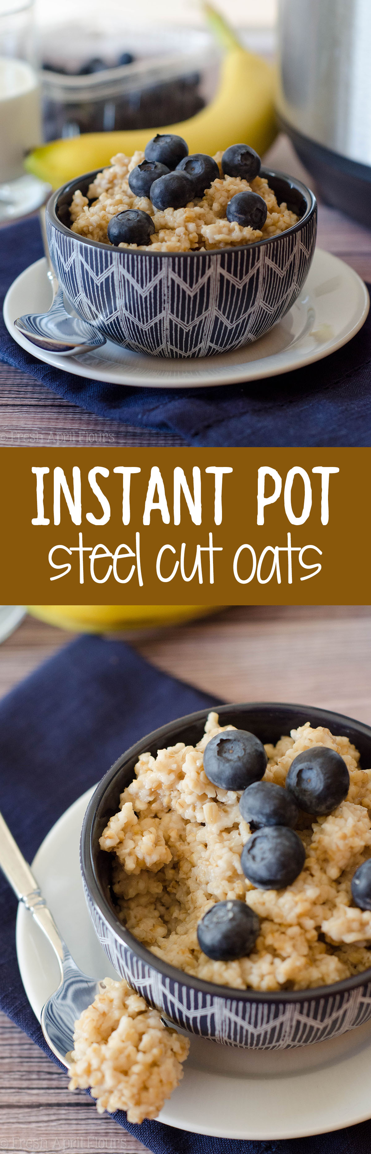 Instant Pot Steel Cut Oats: Everything you love about steel cut oats WITHOUT all the time it takes to cook them on the stove. Soft and fluffy and ready for all of your favorite add-ins!