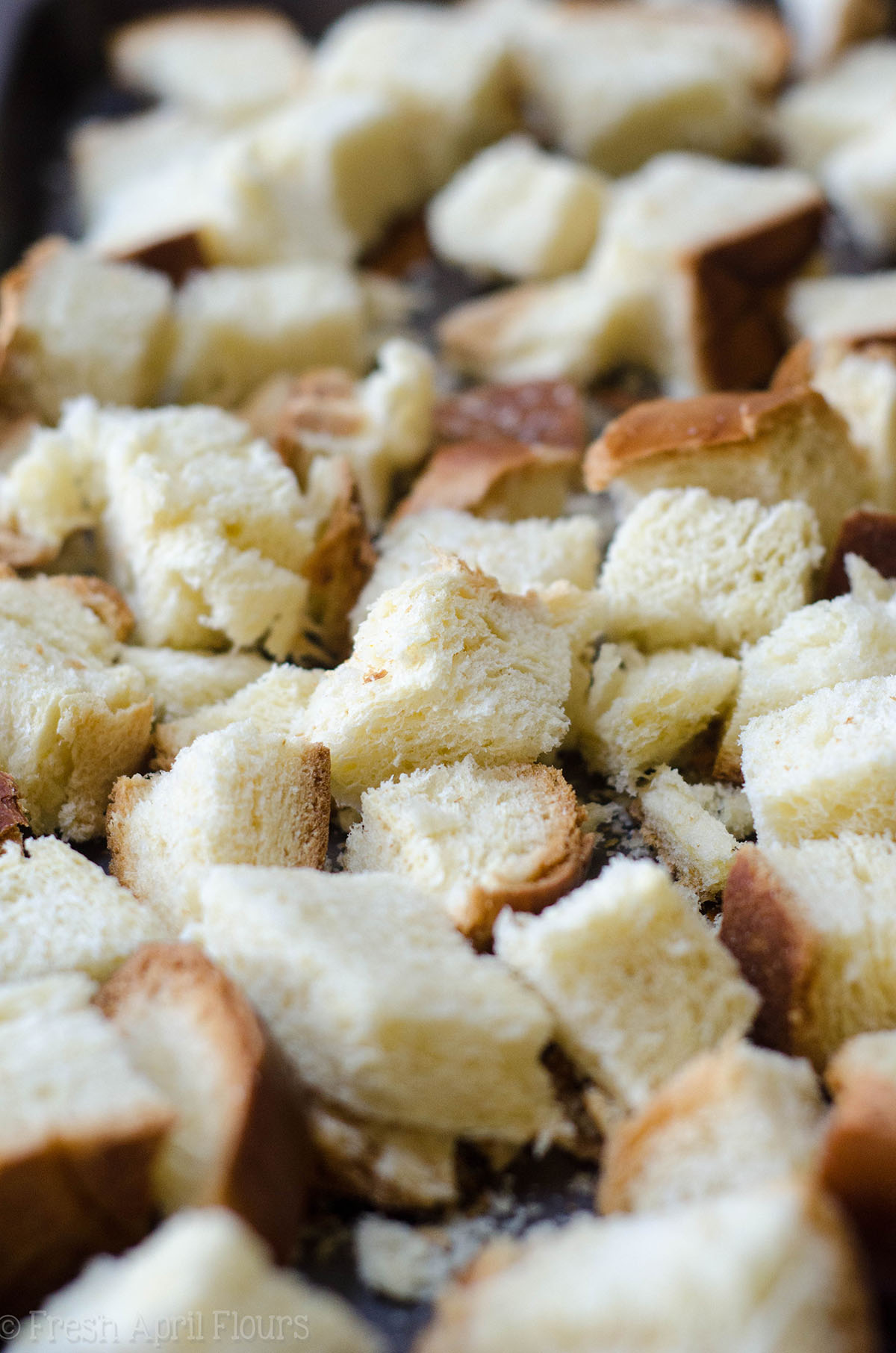 stale bread pieces ready for french toast casserole