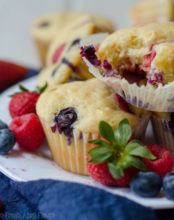 Very Berry Muffins: Soft and flavorful buttermilk muffins bursting with blueberries, raspberries, and strawberries.