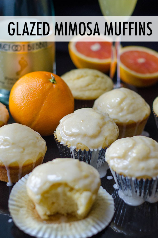 Tender citrus muffins made with a champagne reduction and topped with a boozy orange glaze are the sweetest way to get your mimosa fix.