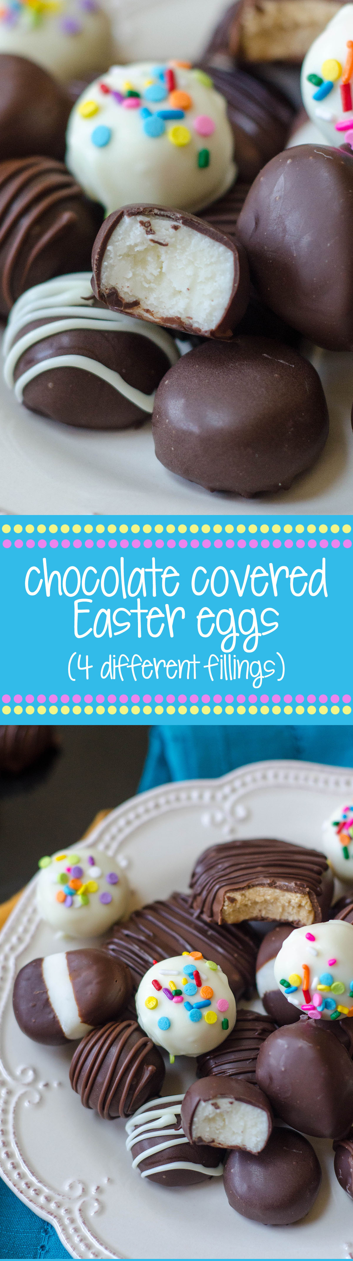 Making your own buttercream eggs from scratch is MUCH easier than you think it is. Classic vanilla, funfetti, coconut cream, and peanut butter eggs or rounds dipped in chocolate are just what your Easter needs!