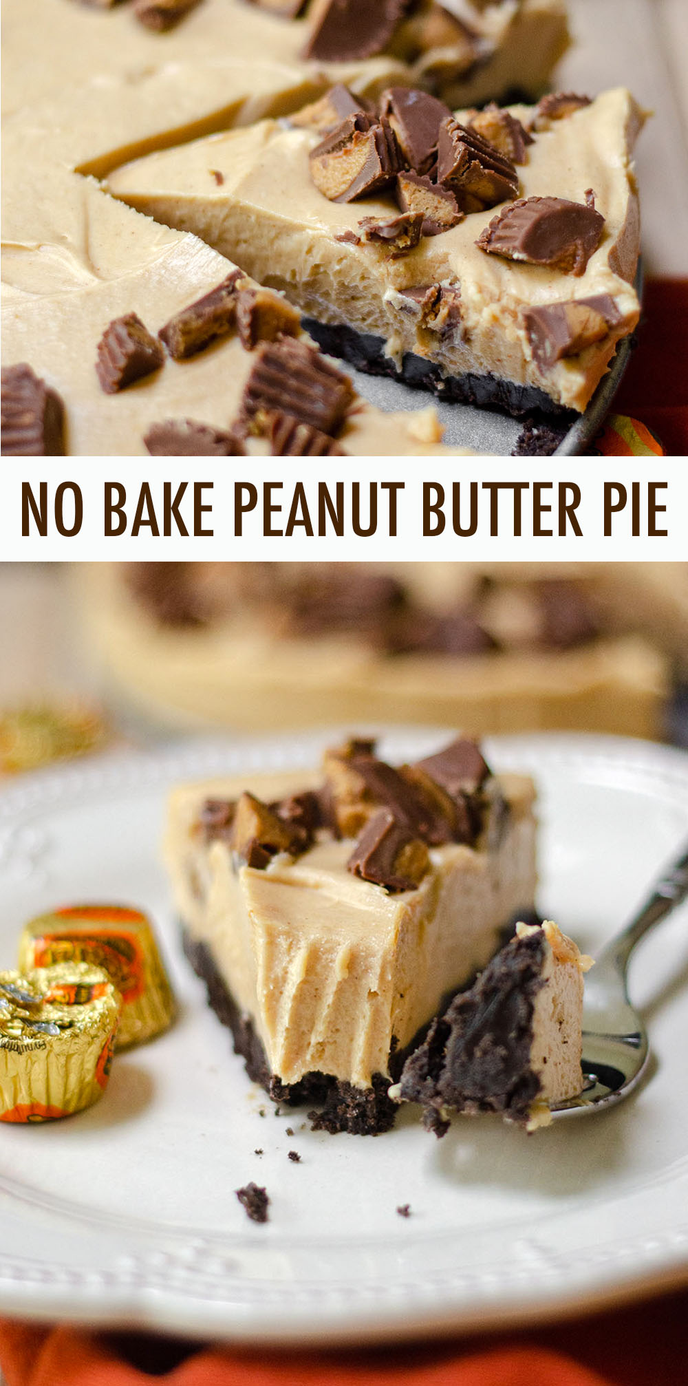 A light and creamy peanut butter filling atop a crushed Oreo crust. The chopped peanut butter cups on top seal the deal for a perfect no bake pie!