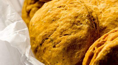 pumpkin biscuits in a basket