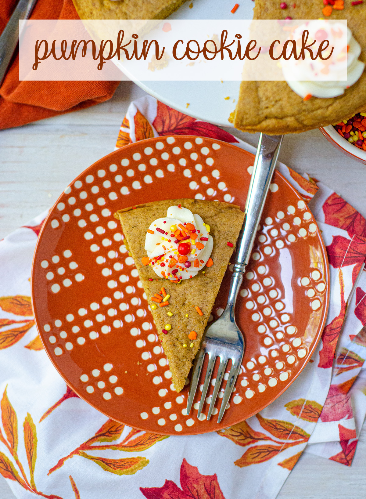 A soft and flavorful spiced cookie cake. The perfect treat for a fall birthday!