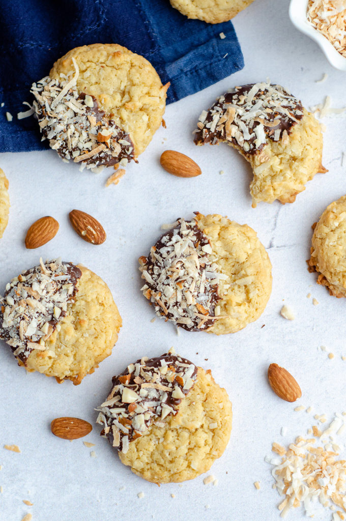 aerial photo of coconut almond cookies