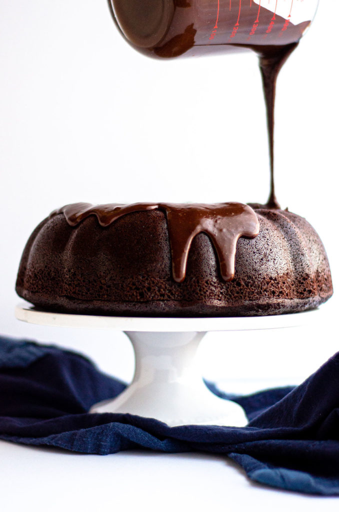 Chocolate Bundt Cake: A simple chocolate cake made with rich, deep flavors and topped with a smooth chocolate ganache.