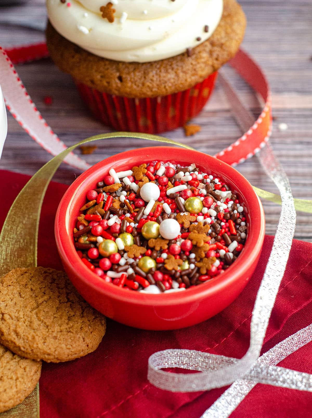 a bowl of christmas sprinkles