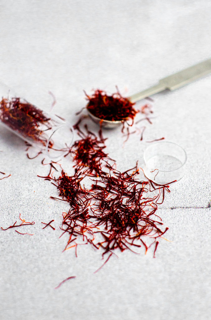 saffron threads spilling out of a tube