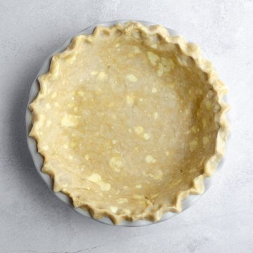 aerial photo of pie crust sitting in a pie plate