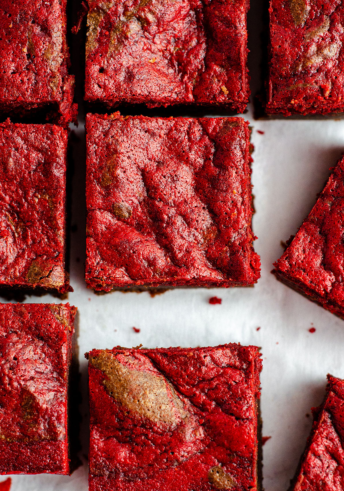 red velvet brownies cut into squares
