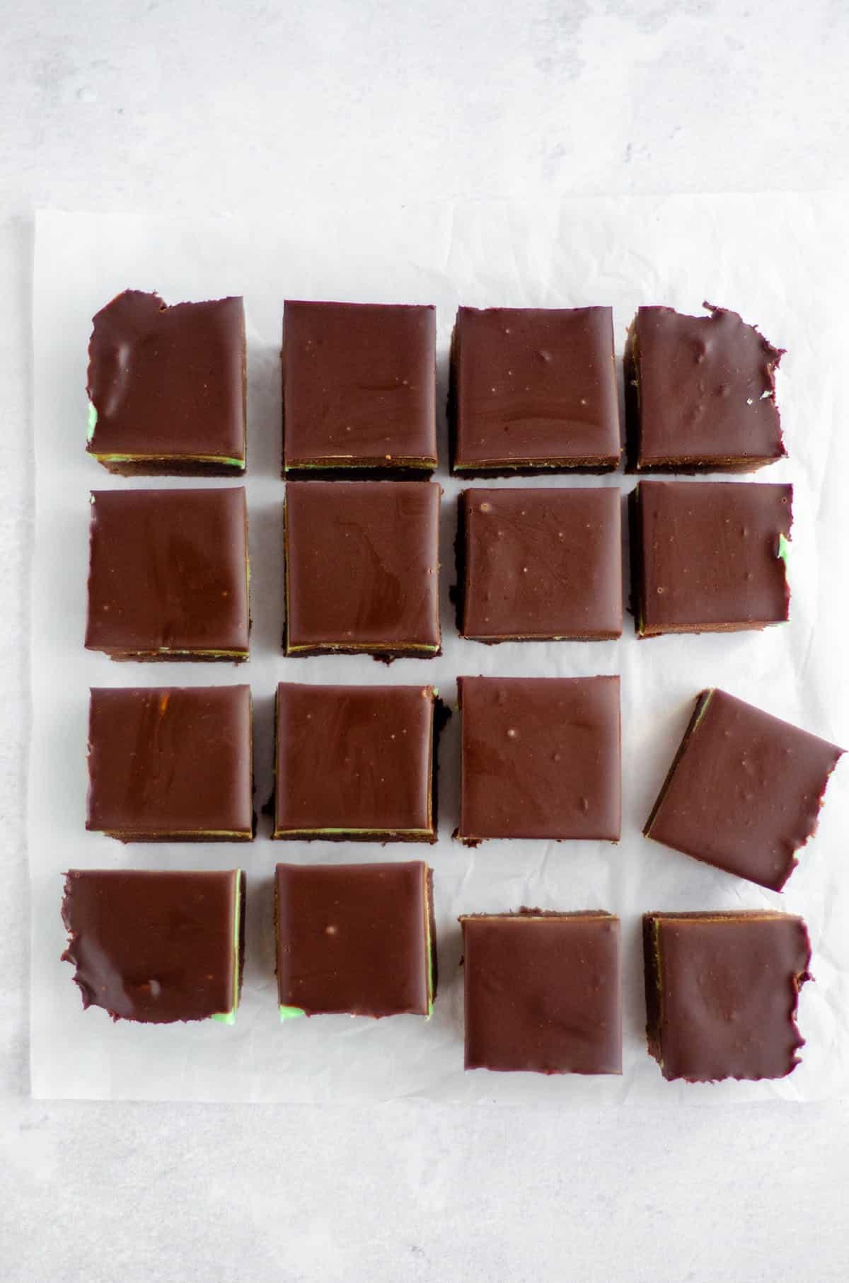 aerial photo of sliced mint chocolate brownies