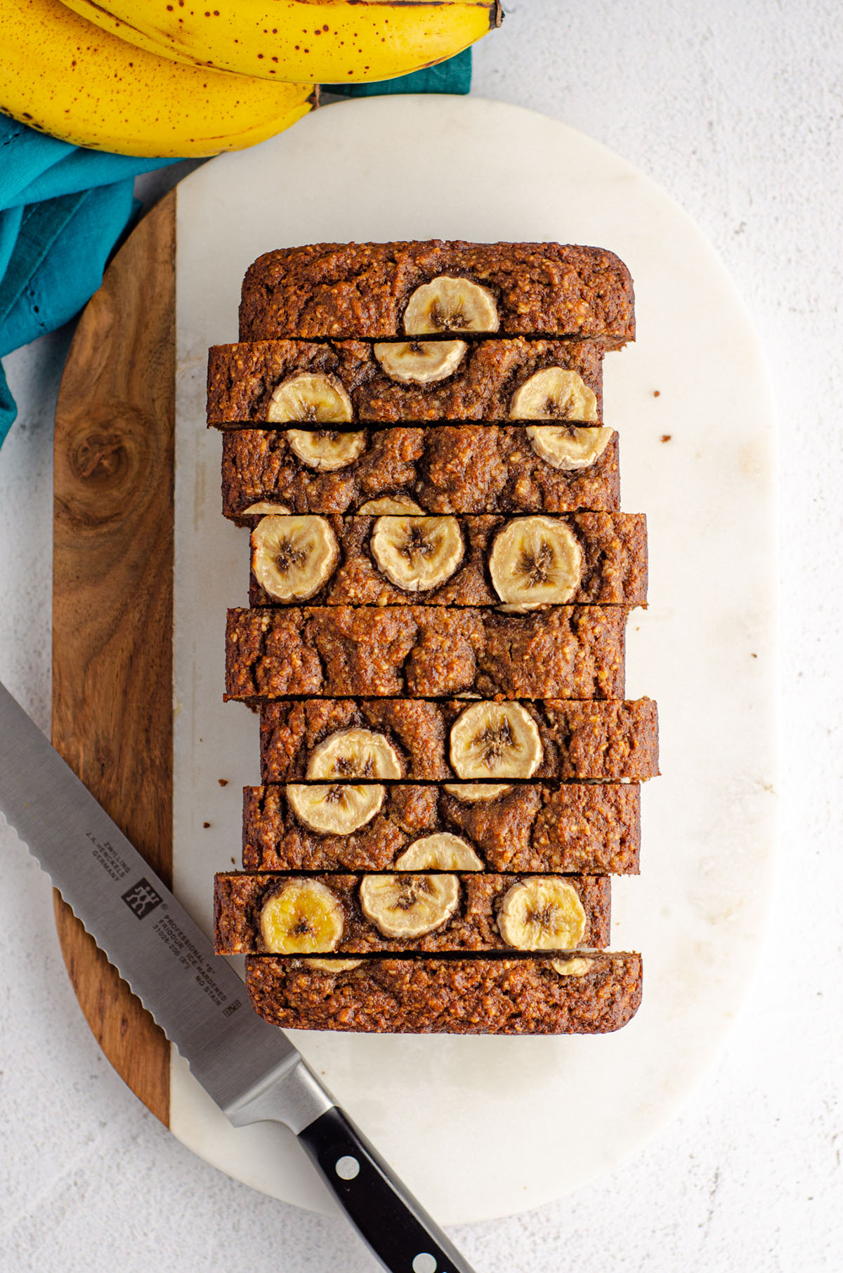 aerial photo of almond flour banana bread with banana slices baked into the top