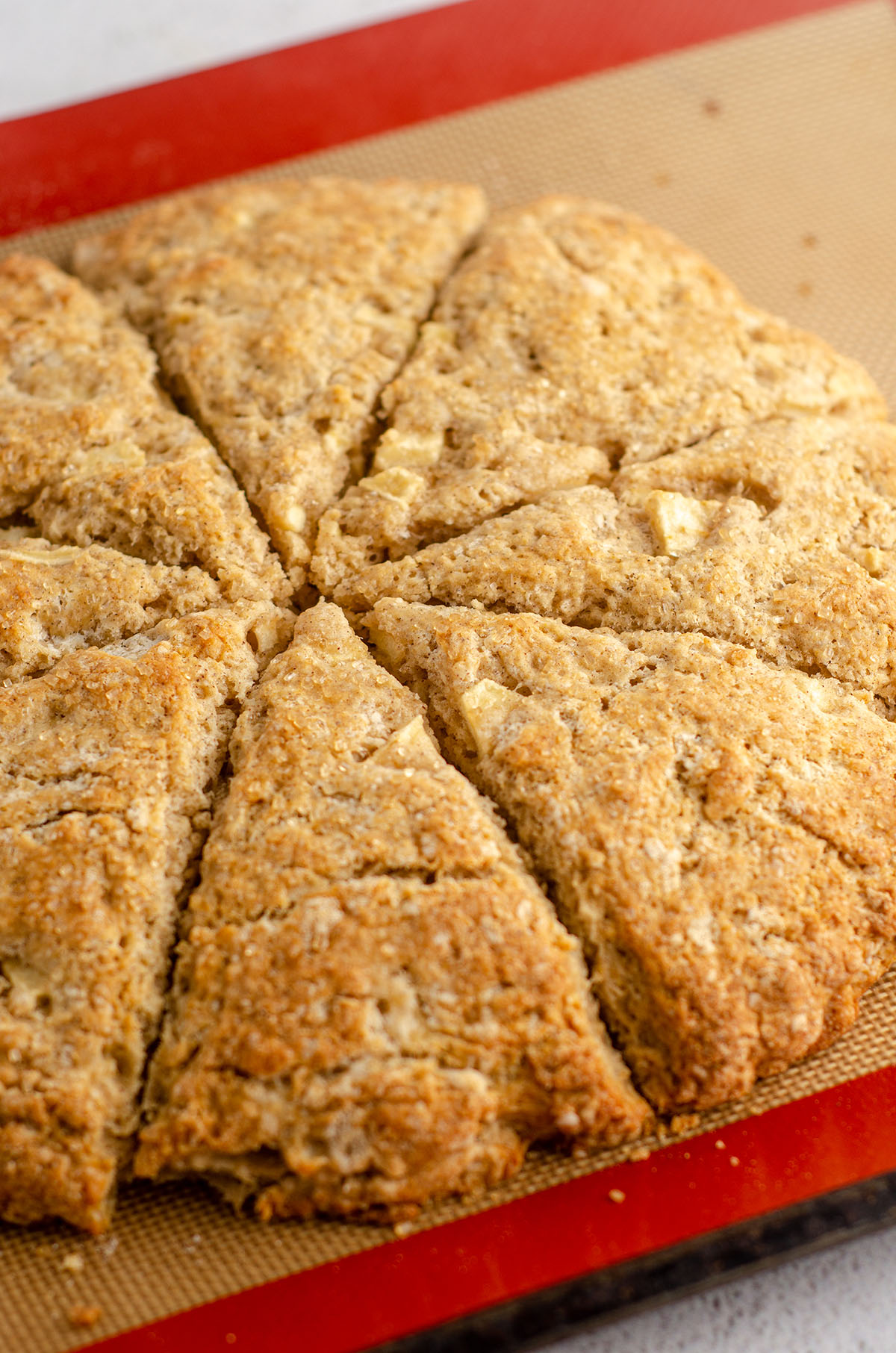 baked golden brown scones on baking sheet