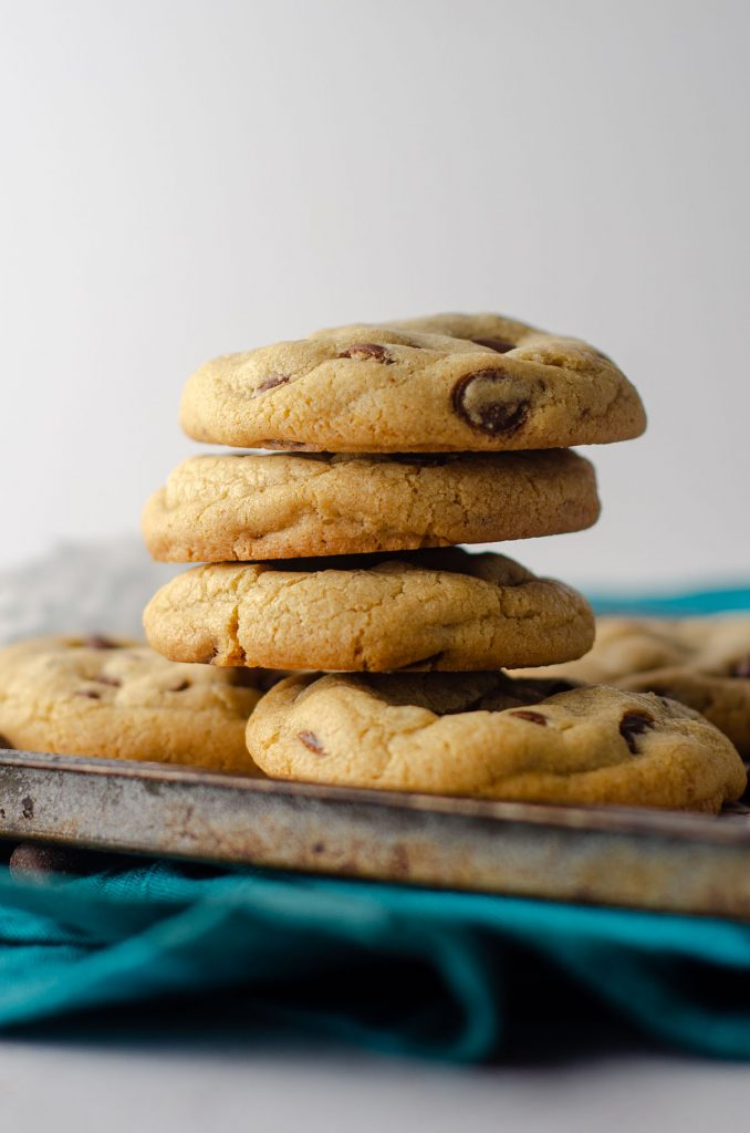stack of 6 small batch chocolate chip cookies