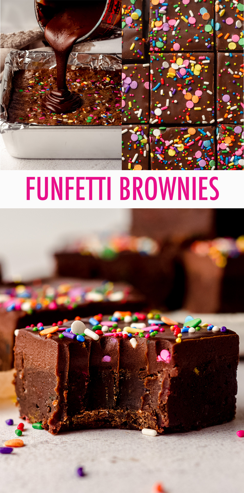 Simple from-scratch brownies filled with sprinkles and topped with a smooth and creamy chocolate ganache.