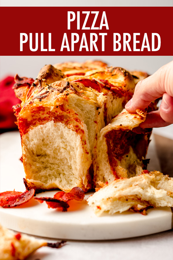 A simple loaf of yeast bread made with layers of pizza sauce, shredded cheese, and pepperoni. A fun twist on traditional pizza and easy to transport!