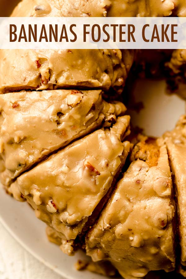 An incredibly moist and flavorful banana bundt cake flavored with rum and topped with a pecan praline icing.