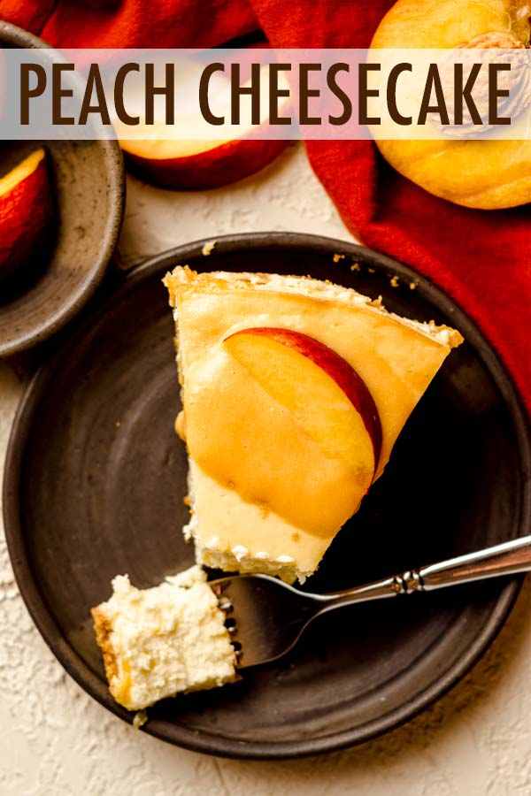 Smooth and creamy homemade cheesecake filled with a ribbon of fresh cooked peaches.