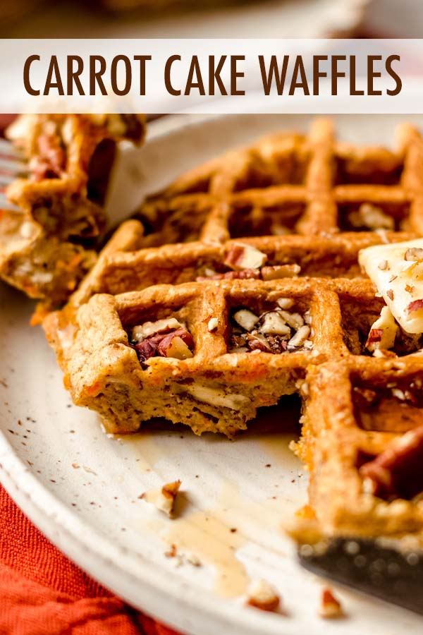Soft and fluffy homemade carrot cake waffles filled with shredded carrots, warm spices, and crunchy nuts. A non-traditional way to get your waffle fix with a lighter take on the ingredient list.