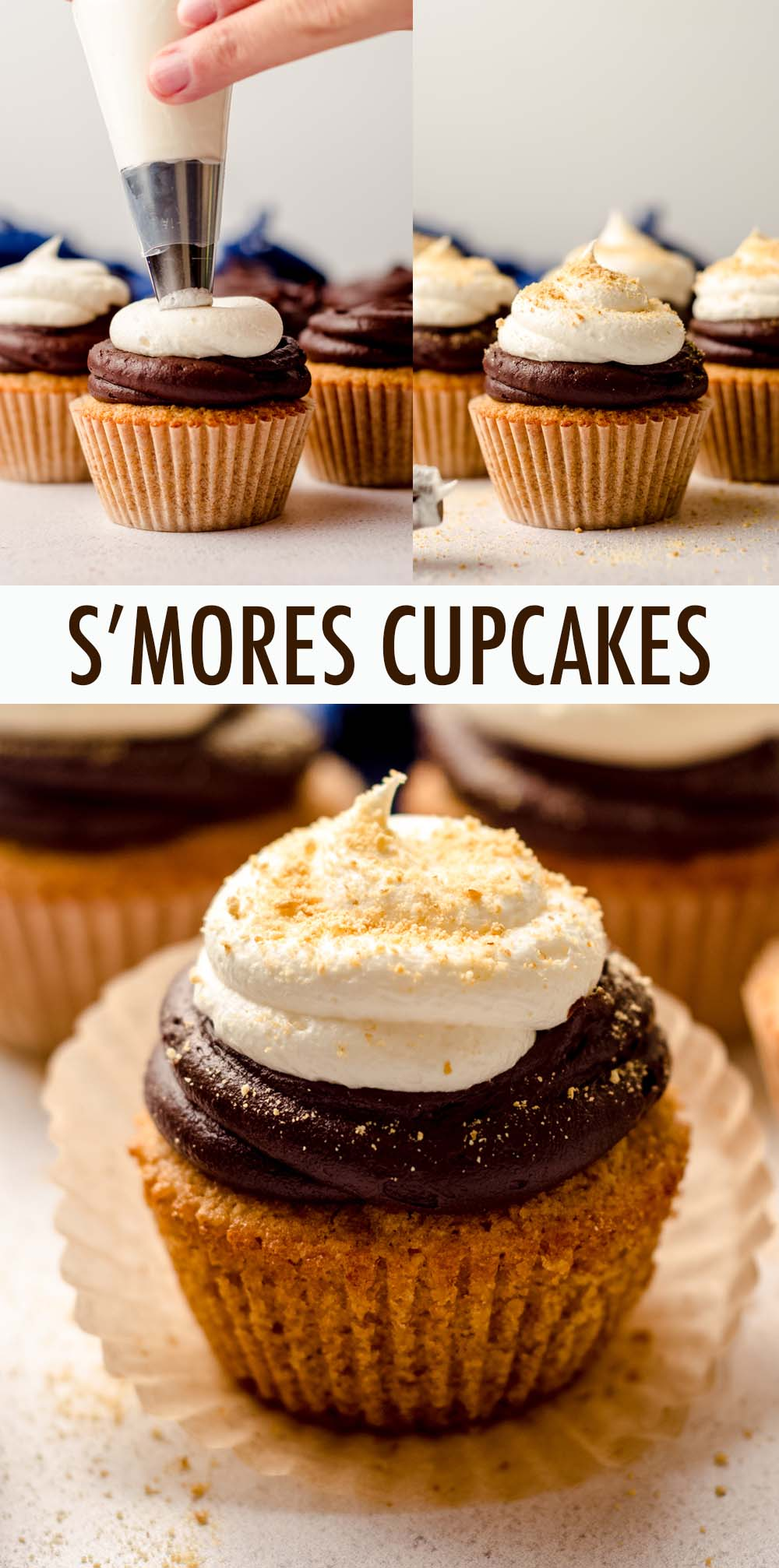 Buttery, textured graham cracker cupcakes topped with a duo of velvety smooth chocolate buttercream and fluffy marshmallow buttercream.