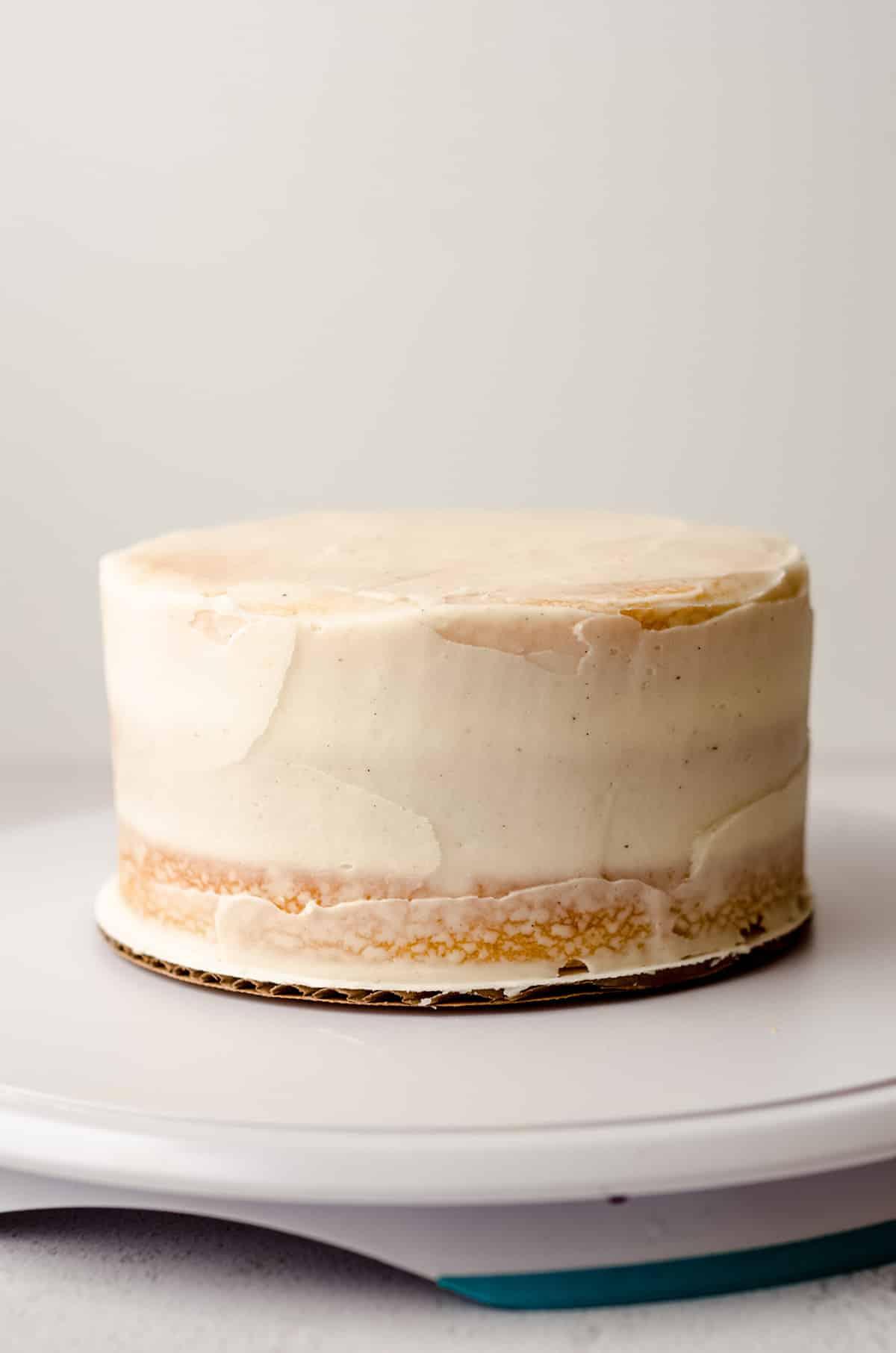 a crumb coated cake