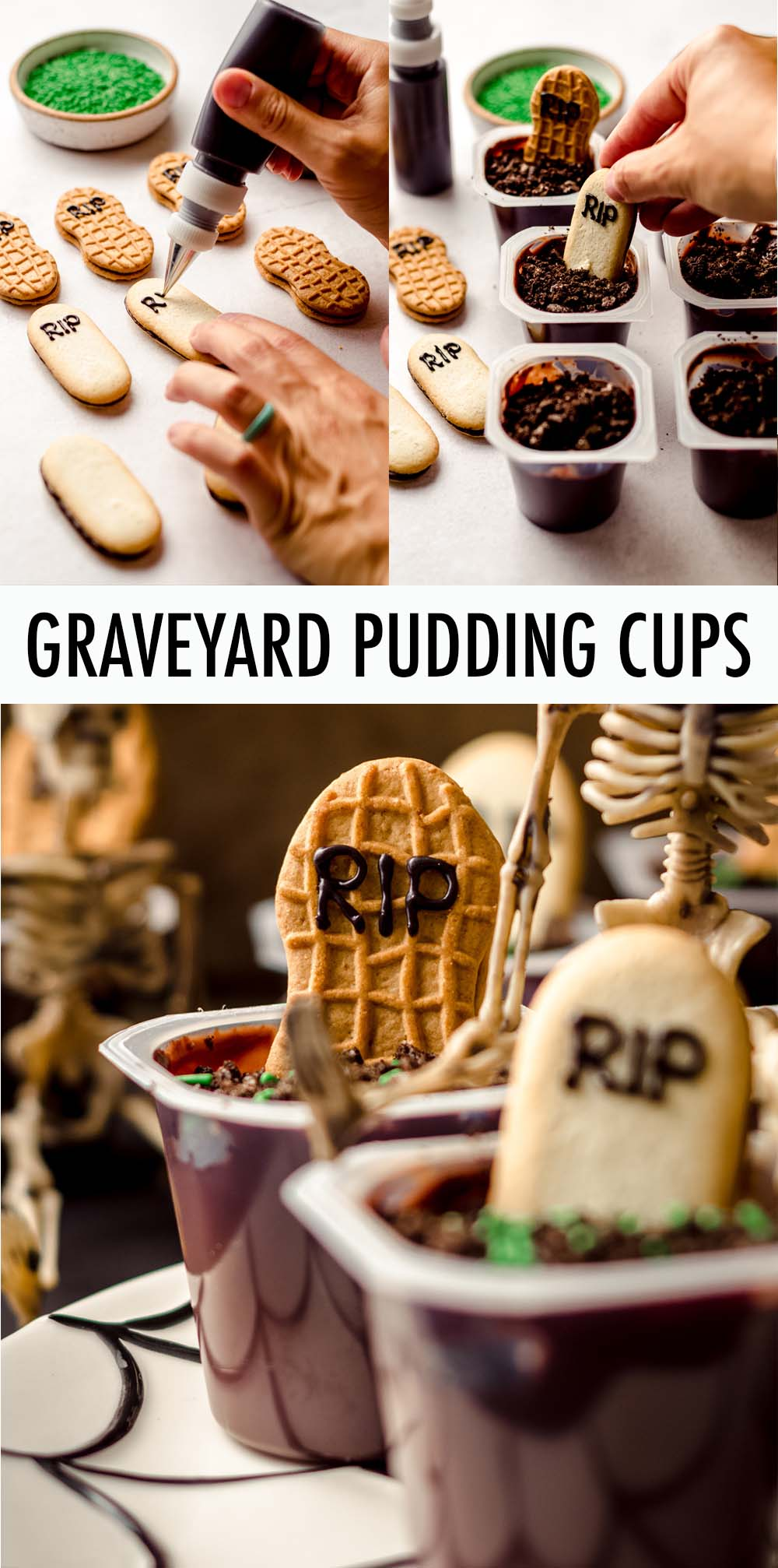 Turn pre-made pudding cups and cookies into cute no-bake Halloween treats fit for any ghost, ghoul, or zombie. Great for kids to make and eat and perfect for your Halloween party spread!