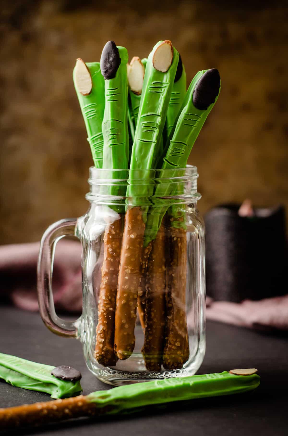 witch finger pretzels in a glass jar