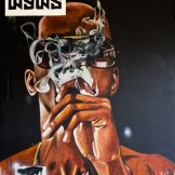 IRONY. Acrylic and oil stick on canvas. 70x58 in. 2012. Fahamu Pecou