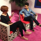 Testing Emmett Moore's chairs at Design Miami2014