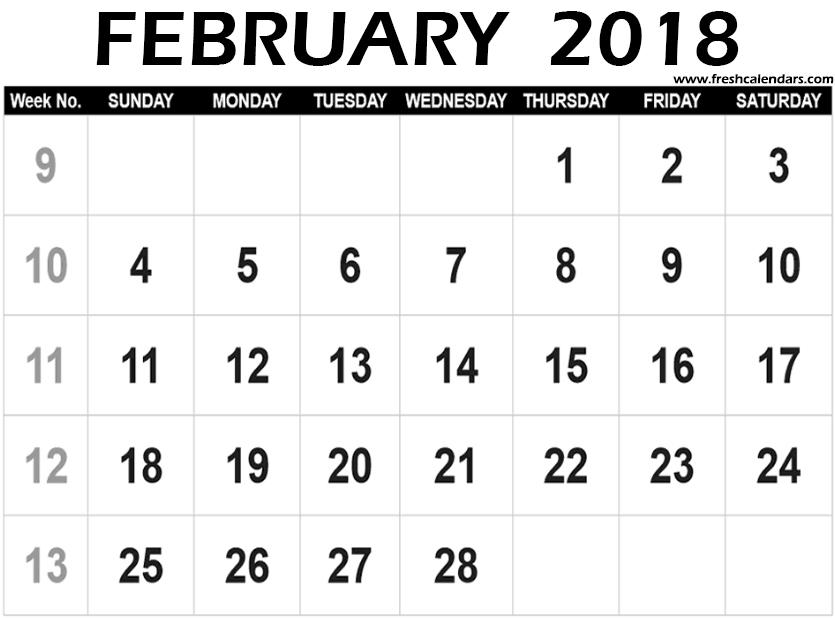 Blank February 2018 Calendar Printable Templates