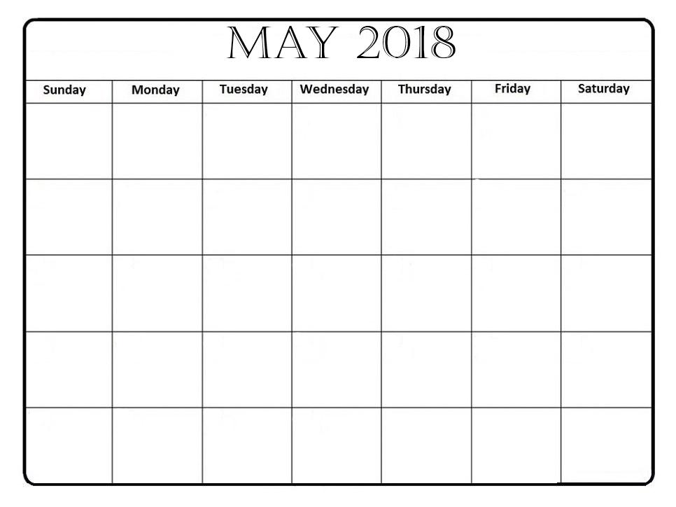 may 2018 calendar blank