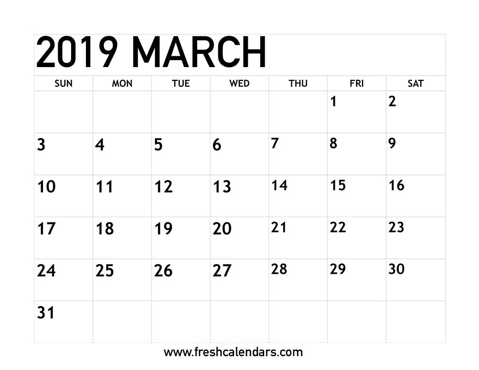 Blank March 2019 Calendar Printable Templates