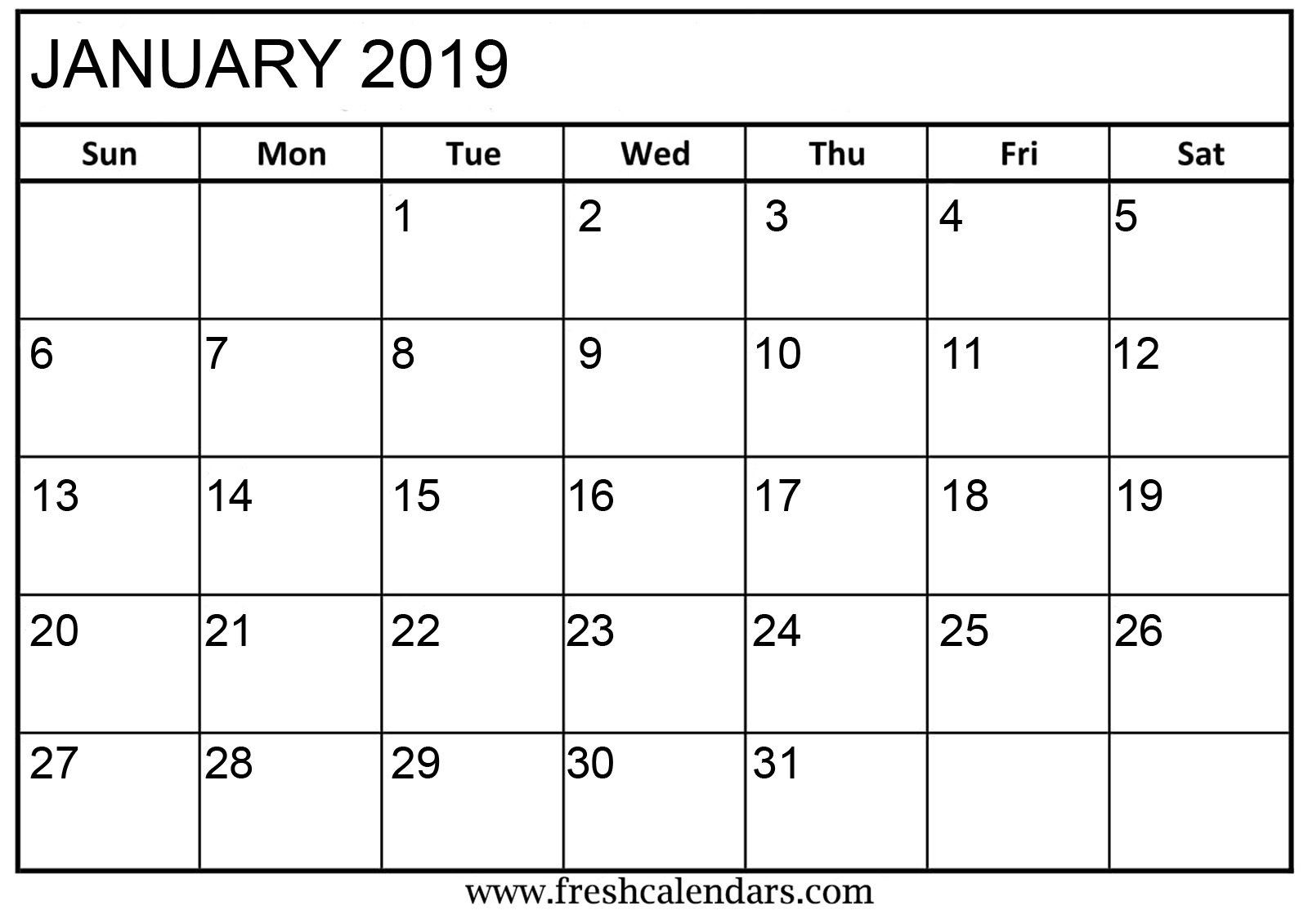Time rules our lives, with appointments and deadlines guiding us through our days. January 2019 Calendar Printable