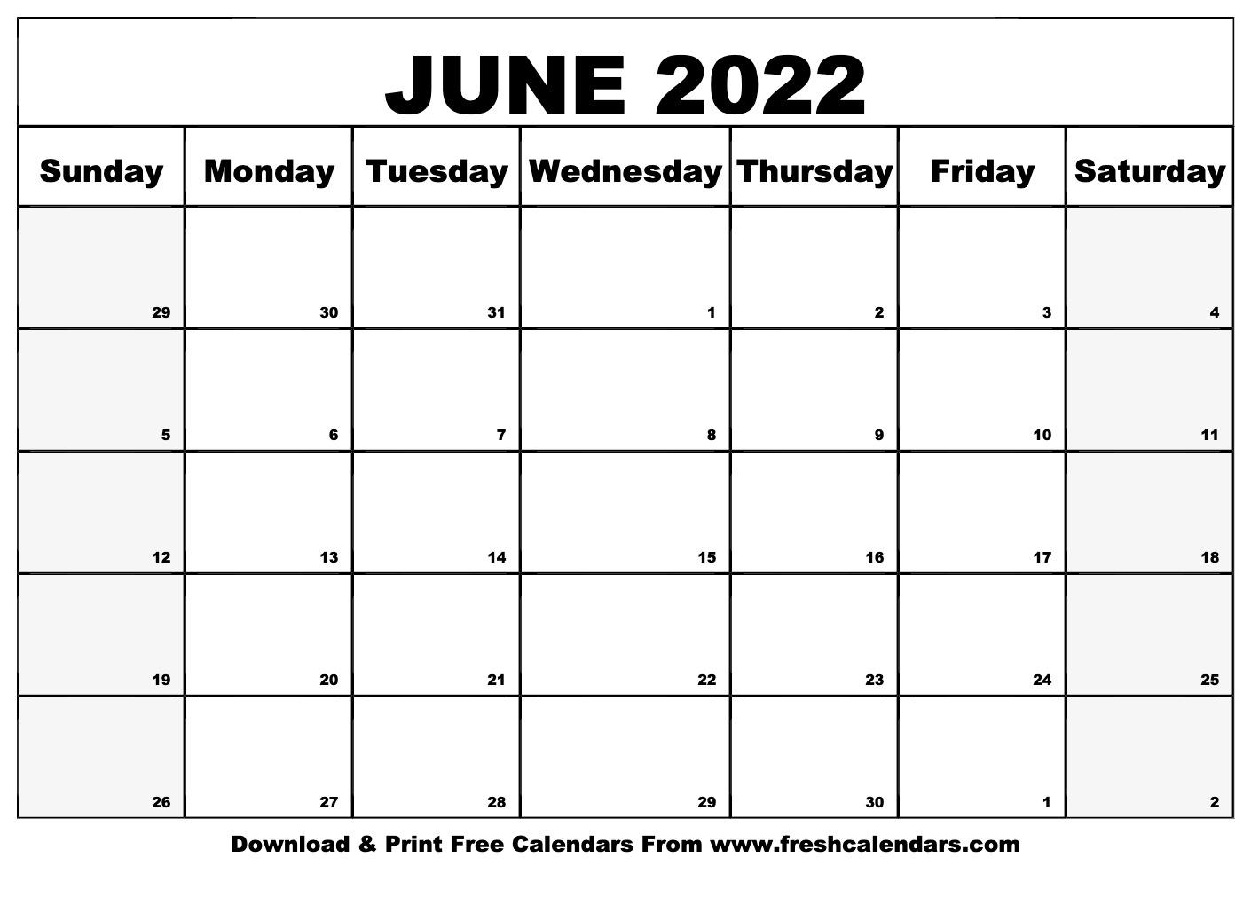 Blank Printable June 2022 Calendars