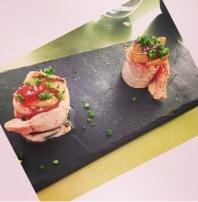 Cannelones de salmão com foie gras