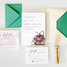 watercolor rose wedding suite