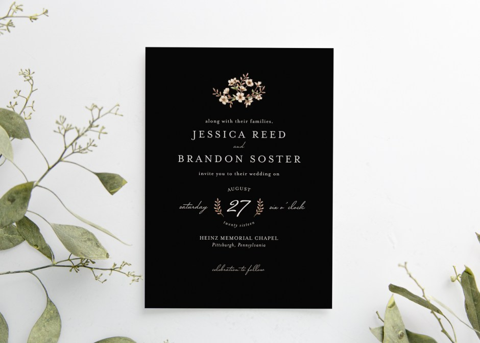 Dark Floral Black Wedding Invitation