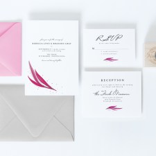 pink watercolor wedding invitation suite