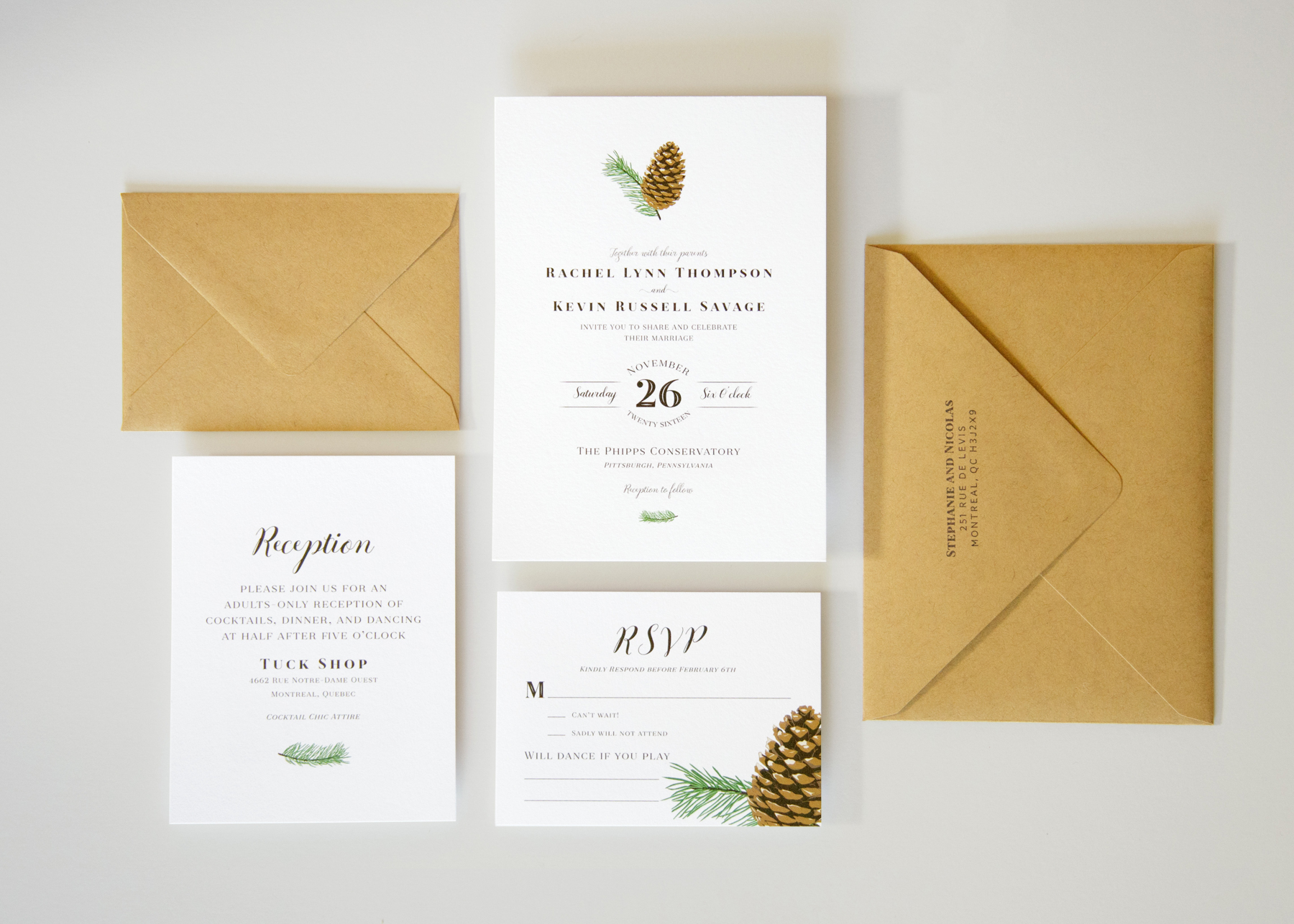 Winter Invitation Suite with Pinecone