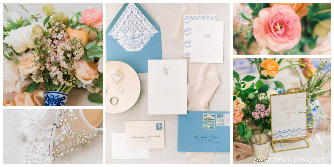 Blush and Dusty Blue Southern Wedding