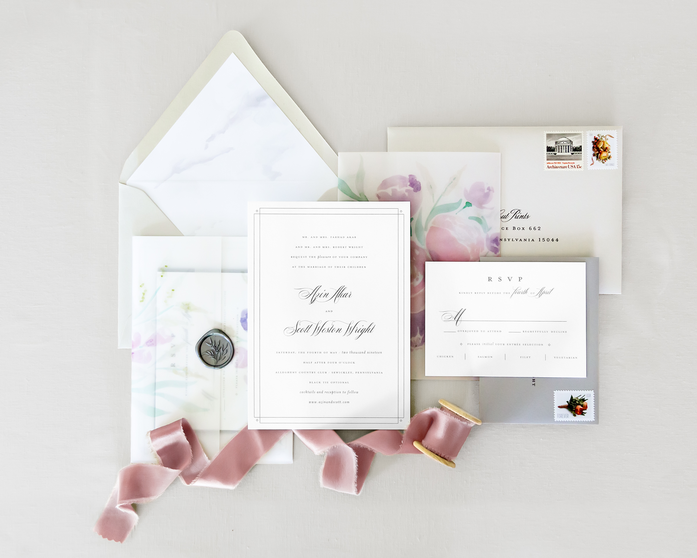 Custom Wedding Invitations with Ribbon and Seal