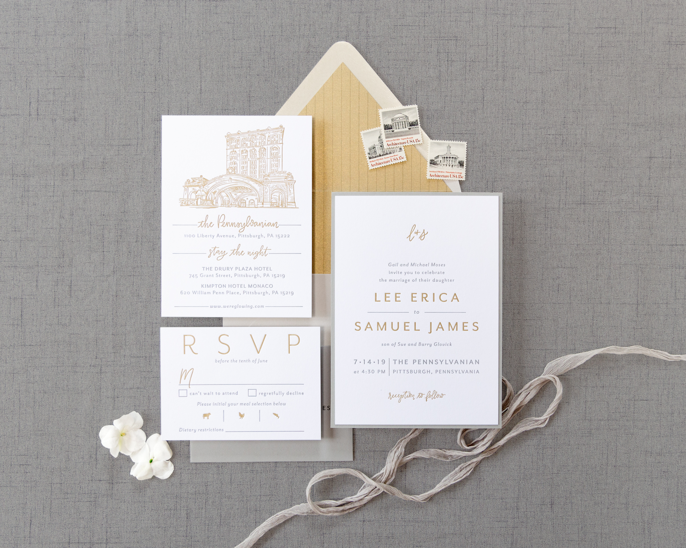 Letterpress Pennsylvanian Invitations